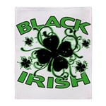 Black Shamrocks Black Irish Throw Blanket