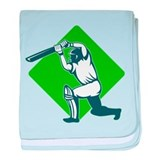 cricket batsman batting baby blanket