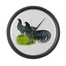 Blue Sumatra Chickens Large Wall Clock