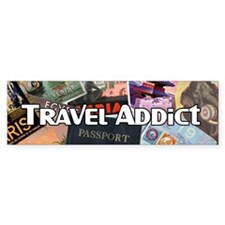 Travel Addict 'Style 2' Bumper Bumper Sticker
