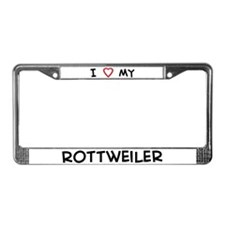 I Love Rottweiler License Plate Frame