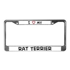 I Love Rat Terrier License Plate Frame