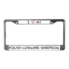 I Love Polish Lowland Sheepdo License Plate Frame