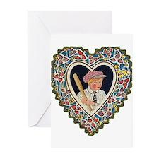 Victorian Valentines Boy w/ B Greeting Cards (Pk o