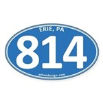 Blue Erie, PA 814 Sticker (Oval)