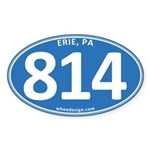 Blue Erie, PA 814 Sticker (Oval 50 pk)