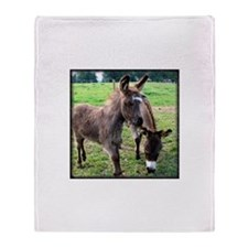 Baby Miniature Donkey & Mom Throw Blanket