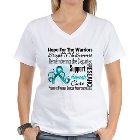 Hope Tribute Ovarian Cancer Women's V-Neck T-Shirt