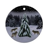 Coyotes in Snow Ornament (Round)