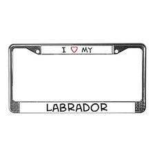 I Love Labrador License Plate Frame