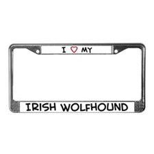 I Love Irish Wolfhound License Plate Frame