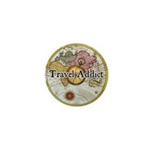 """Travel Addict"" Mini Button"