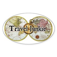 """Travel Junkie"" Oval Decal"