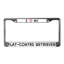 I Love Flat-Coated Retriever License Plate Frame
