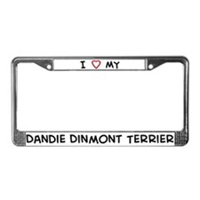 I Love Dandie Dinmont Terrier License Plate Frame