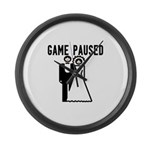 Game Paused Large Wall Clock