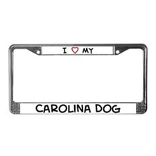 I Love Carolina Dog License Plate Frame