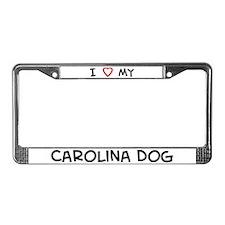 I Love Carolina Dog License Plate Frame