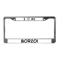 I Love Borzoi License Plate Frame