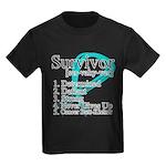 Survivor Ovarian Cancer Kids Dark T-Shirt