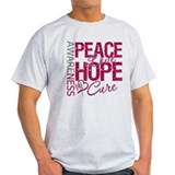 Throat Cancer Peace Love Hope T-Shirt
