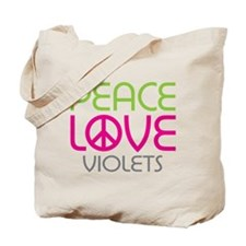 Peace Love Violets Tote Bag