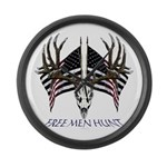 Free men hunt Large Wall Clock