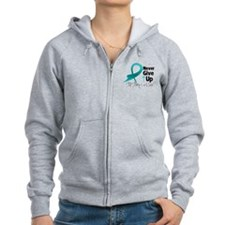 Never Give Up Ovarian Cancer Zip Hoody