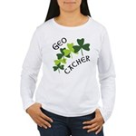 Geocacher Shamrocks Women's Long Sleeve T-Shirt