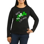 Geocacher Shamrocks Women's Long Sleeve Dark T-Shi