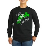 Geocacher Shamrocks Long Sleeve Dark T-Shirt