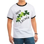 Geocacher Shamrocks Ringer T