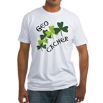 Geocacher Shamrocks Fitted T-Shirt