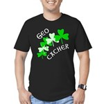 Geocacher Shamrocks Men's Fitted T-Shirt (dark)