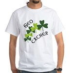 Geocacher Shamrocks White T-Shirt