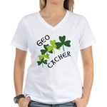 Geocacher Shamrocks Women's V-Neck T-Shirt