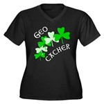 Geocacher Shamrocks Women's Plus Size V-Neck Dark
