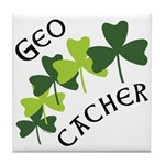 Geocacher Shamrocks Tile Coaster