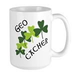 Geocacher Shamrocks Large Mug