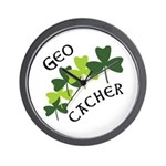 Geocacher Shamrocks Wall Clock