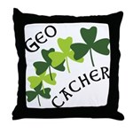 Geocacher Shamrocks Throw Pillow