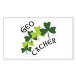 Geocacher Shamrocks Sticker (Rectangle 10 pk)