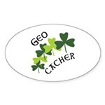 Geocacher Shamrocks Sticker (Oval 10 pk)