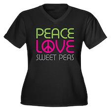 Peace Love Sweet Peas Women's Plus Size V-Neck Dar