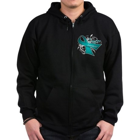 Ovarian Cancer Survivor Zip Hoodie (dark)