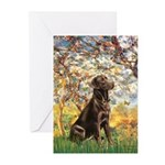 Spring / Choc Lab 11 Greeting Cards (Pk of 10)