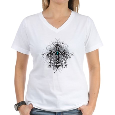 Faith Cross Ovarian Cancer Women's V-Neck T-Shirt