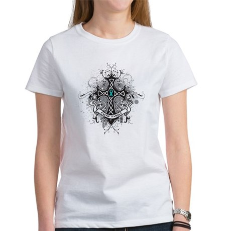 Faith Cross Ovarian Cancer Women's T-Shirt