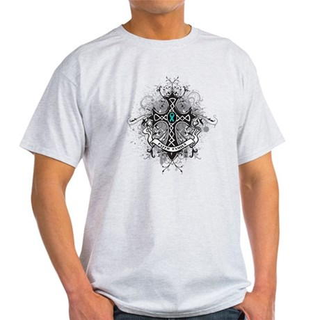 Faith Cross Ovarian Cancer Light T-Shirt
