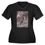 Wax Wing Women's Plus Size V-Neck Dark T-Shirt